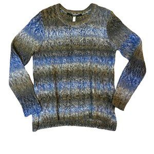 Kensie blue gray stripe sweater. Cable accent
